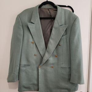 Hickey-Freeman Mint Green Double Breasted Blazer